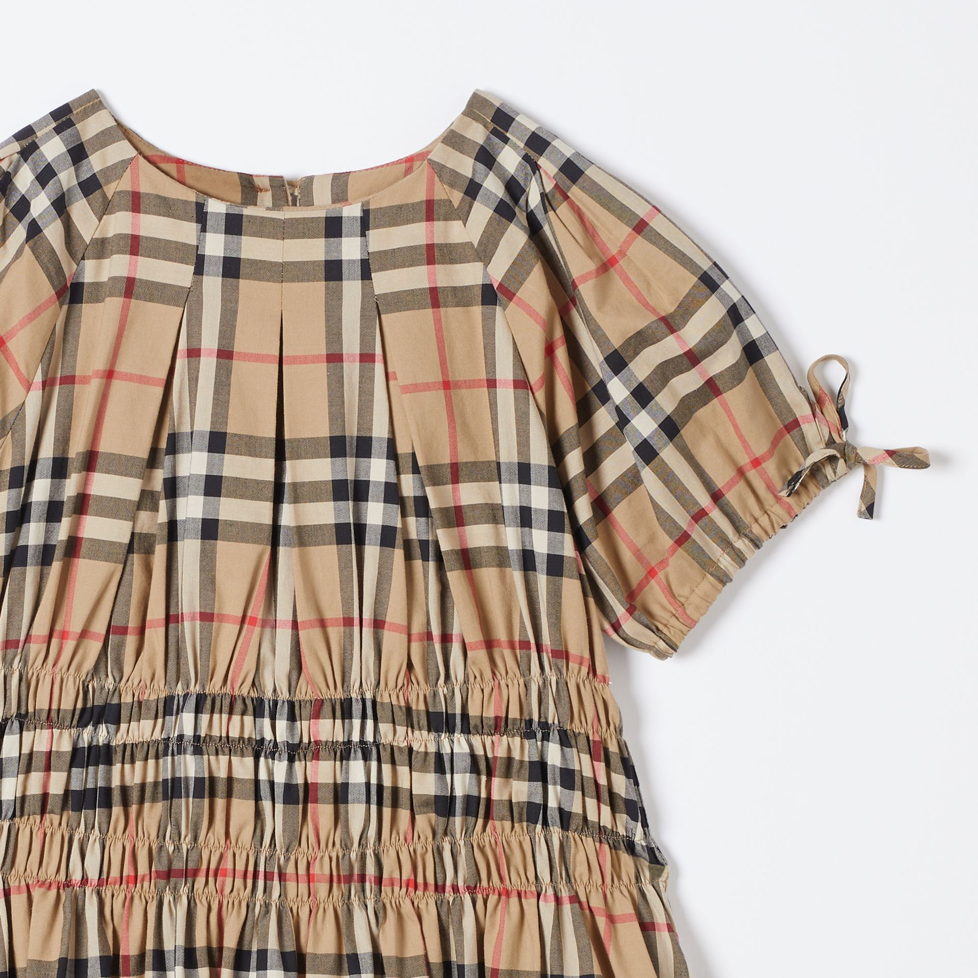 Ruched Panel Vintage Check Cotton Dress in Archive Beige | Burberry Hong Kong S.A.R - gallery image 4
