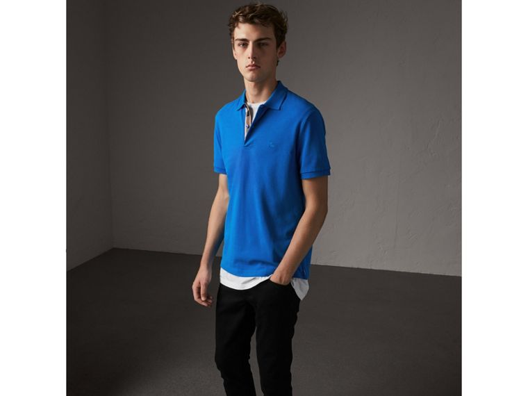 Check Placket Cotton Piqué Polo Shirt in Bright Opal - Men | Burberry - cell image 4