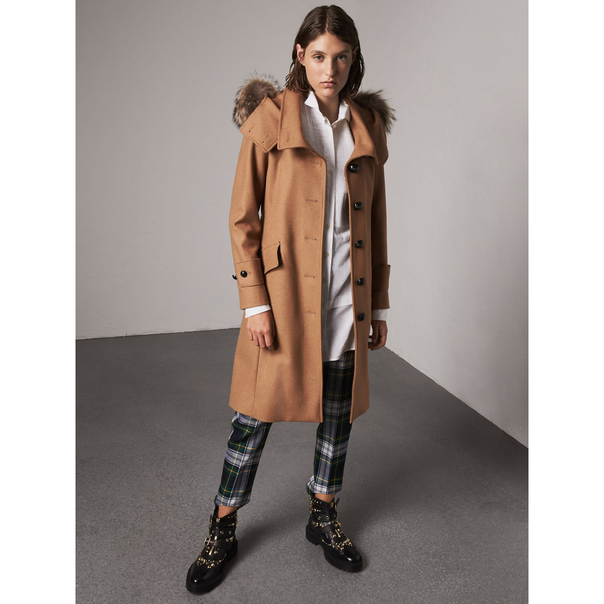 Hooded Wool Blend Coat with Detachable Fur Trim in Camel Melange - Women | Burberry - gallery image 1