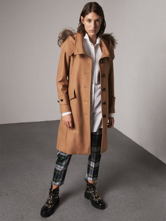 Hooded Wool Blend Coat with Detachable Fur Trim in Camel Melange