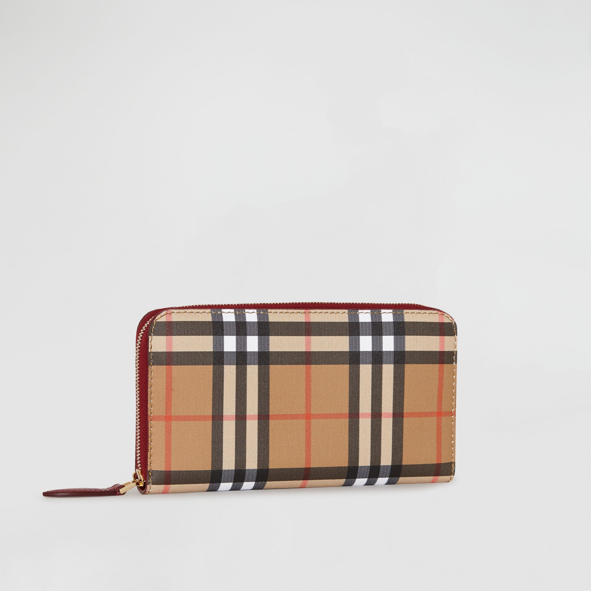 Vintage Check and Leather Ziparound Wallet in Crimson - Women | Burberry Canada - gallery image 4