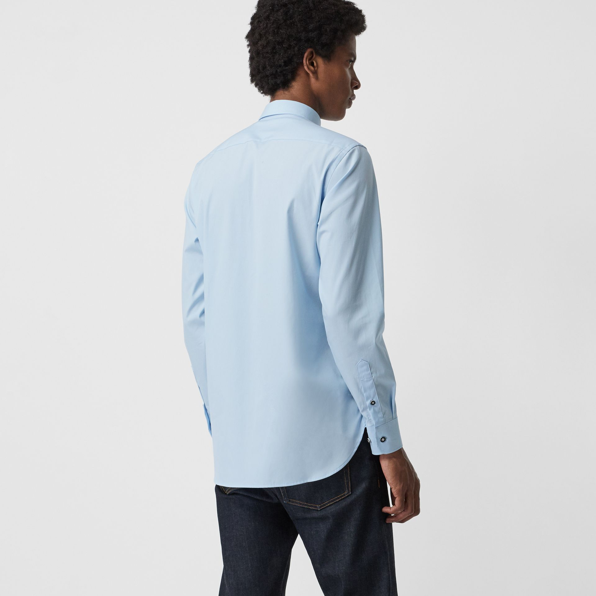 Contrast Button Stretch Cotton Shirt in Pale Blue - Men | Burberry United Kingdom - gallery image 1