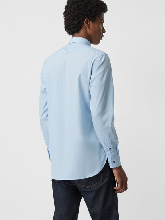 Contrast Button Stretch Cotton Shirt in Pale Blue - Men | Burberry - cell image 1