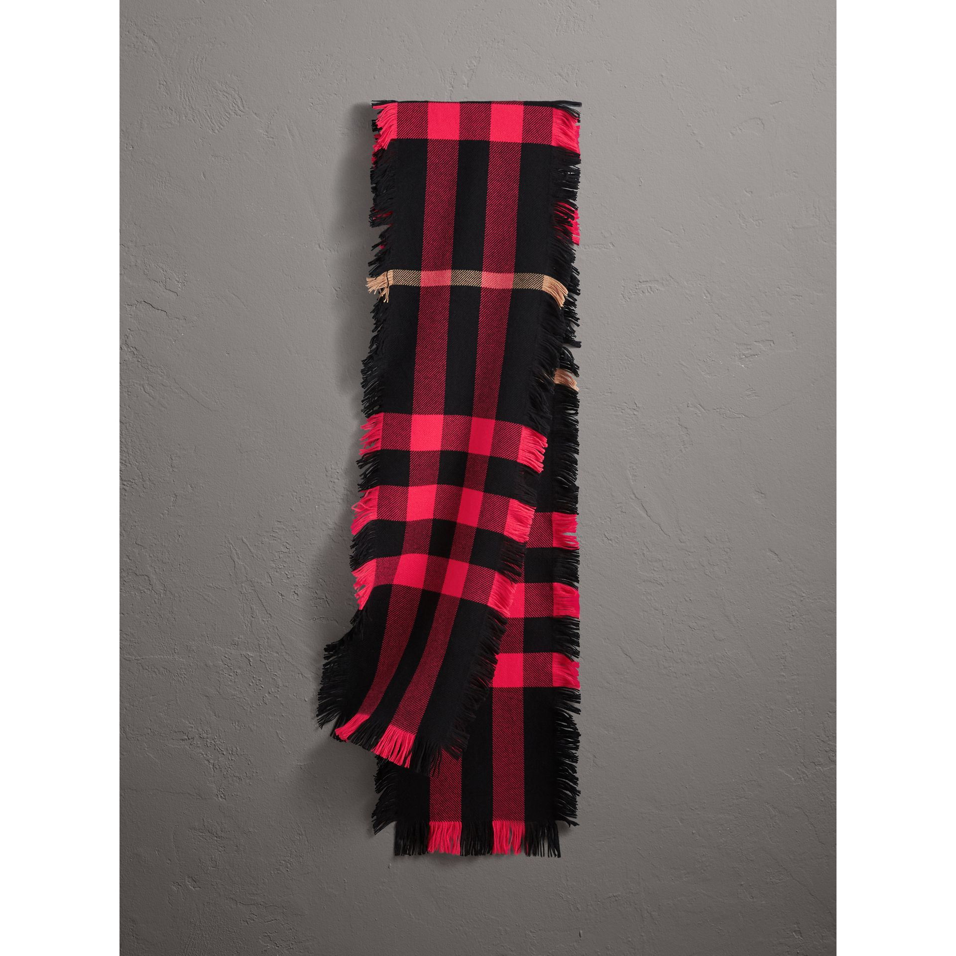 Fringed Check Wool Scarf in Bright Coral | Burberry Canada - gallery image 0