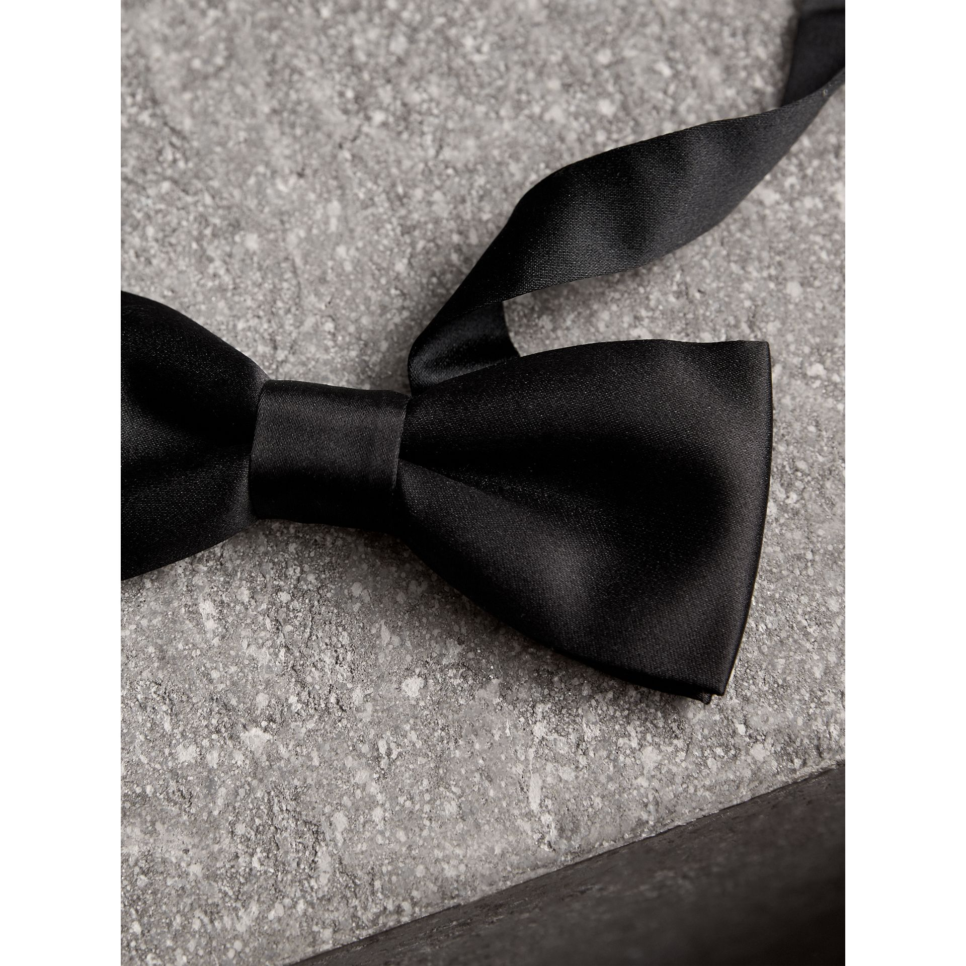 Silk Bow Tie in Black - Men | Burberry - gallery image 2