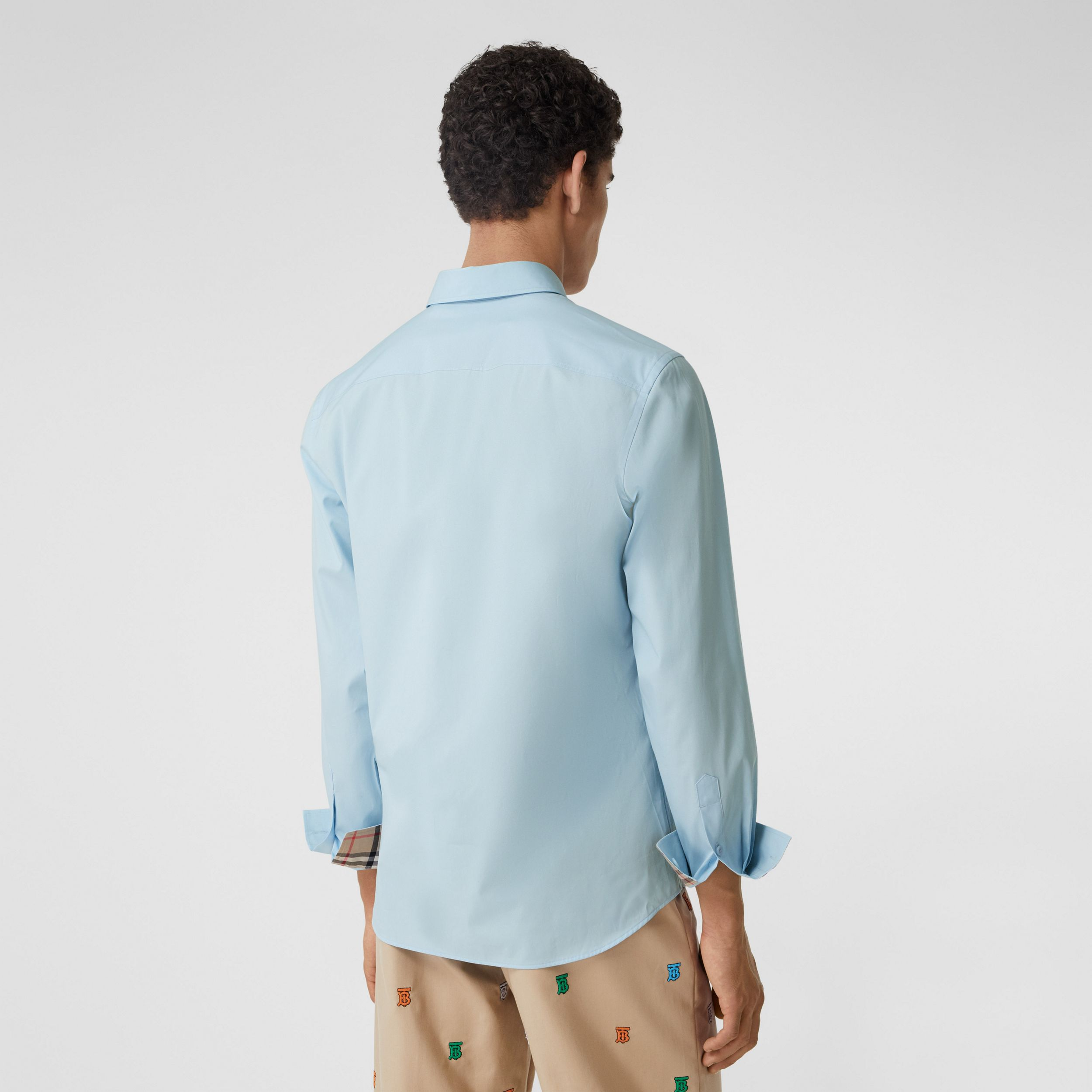 Slim Fit Monogram Motif Stretch Cotton Poplin Shirt in Pale Blue - Men | Burberry Hong Kong S.A.R. - 3