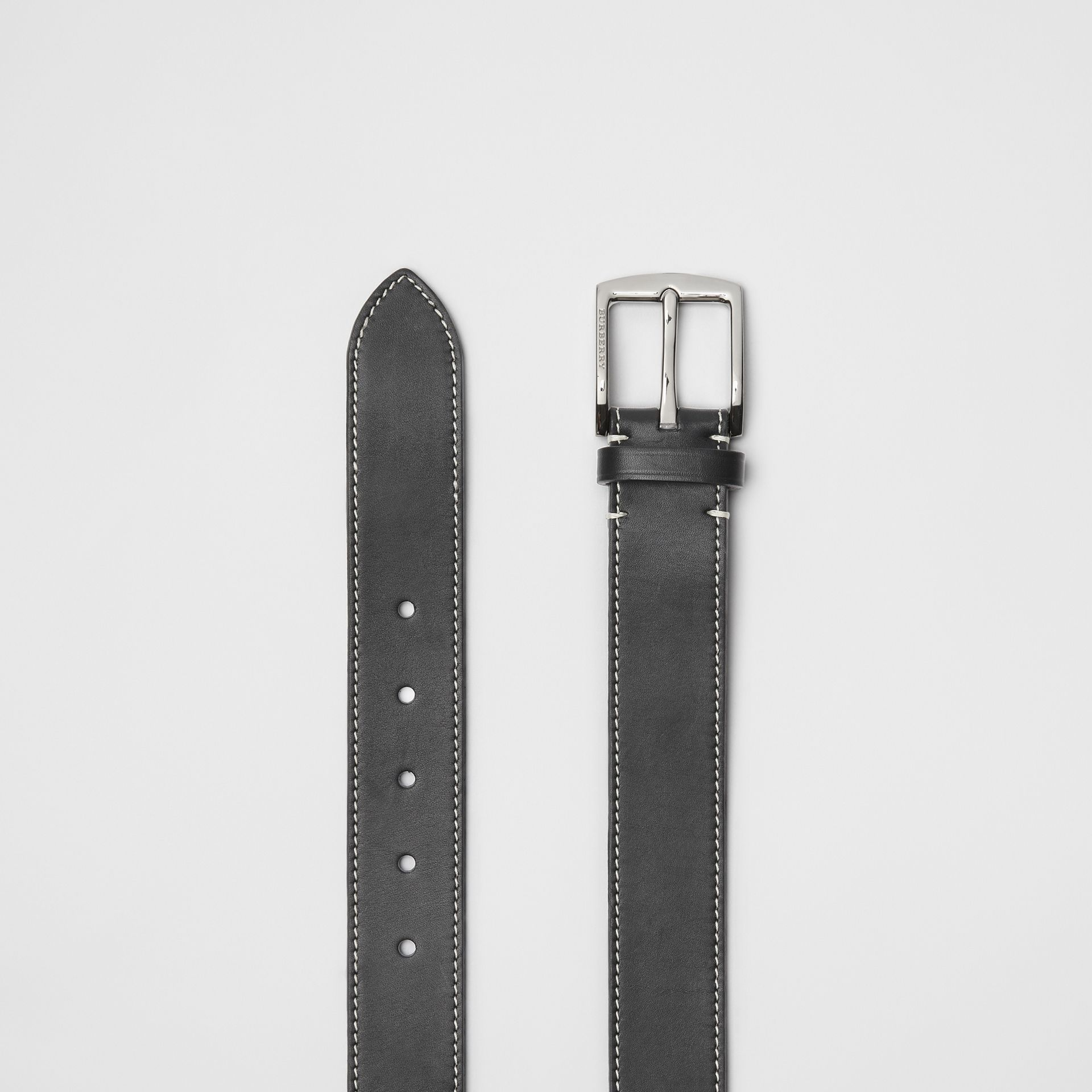 Topstitched Leather Belt in Black - Men | Burberry - gallery image 5