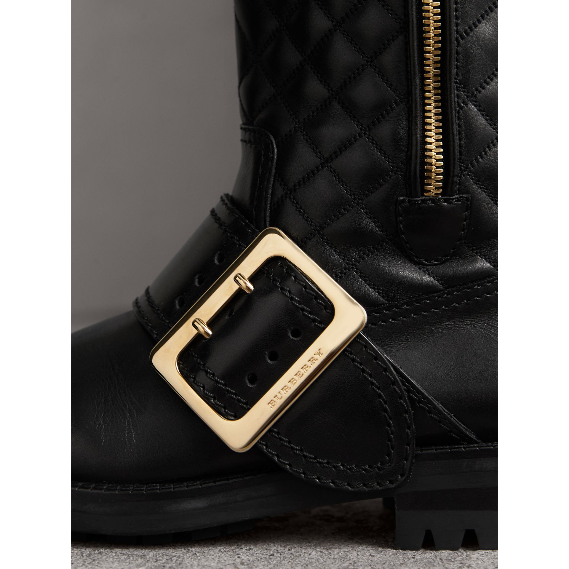Buckle Detail Check Quilted Leather Boots in Black - Women | Burberry - gallery image 2