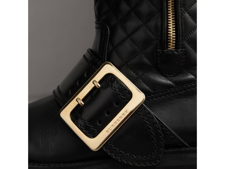 Buckle Detail Check Quilted Leather Boots in Black - Women | Burberry - cell image 1