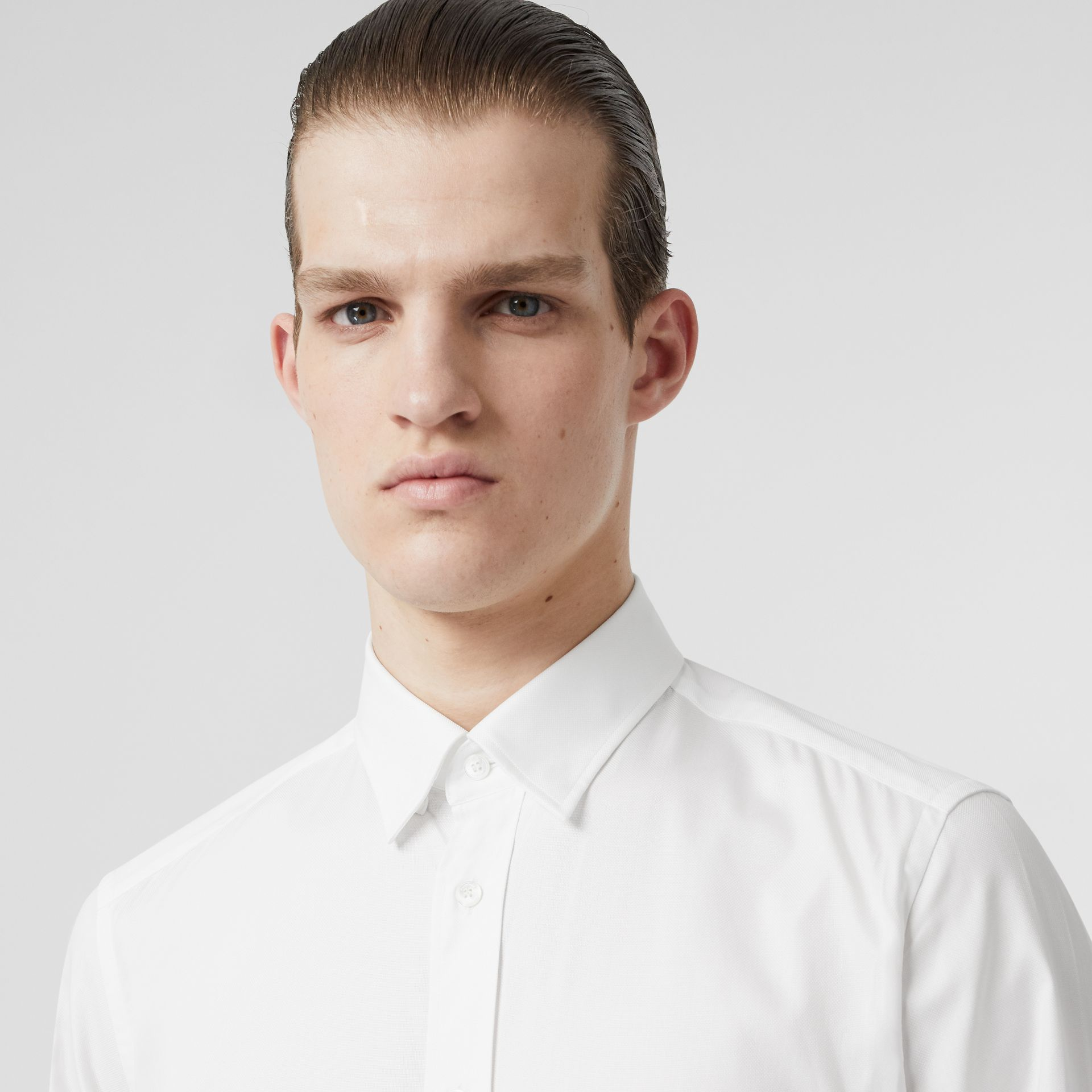 Classic Fit Monogram Motif Cotton Oxford Shirt in White - Men | Burberry Canada - gallery image 1