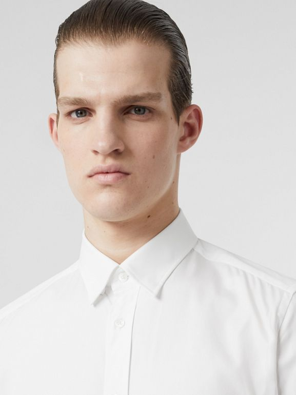 Classic Fit Monogram Motif Cotton Oxford Shirt in White - Men | Burberry Canada - cell image 1