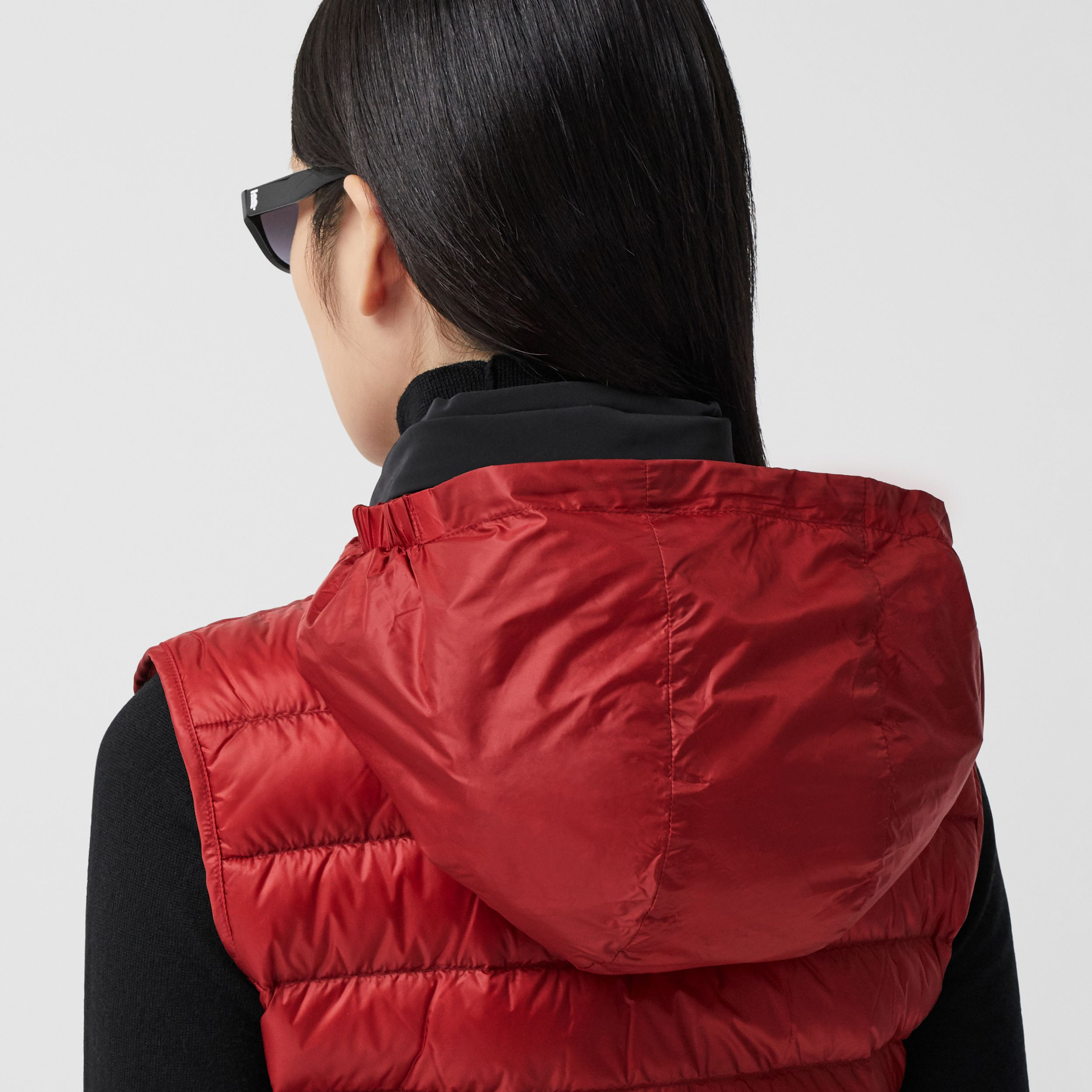 Packaway Hood Peplum Puffer Gilet in Dark Carmine - Women | Burberry - 2