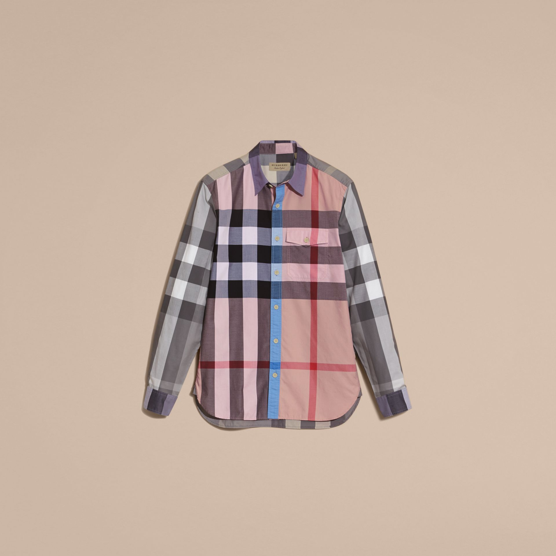 Ash rose Check Cotton Poplin Shirt Ash Rose - gallery image 4