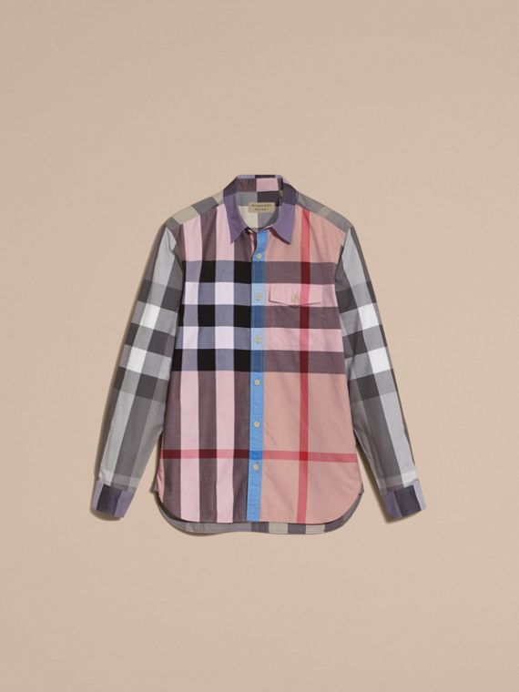 Check Cotton Poplin Shirt in Ash Rose - cell image 3