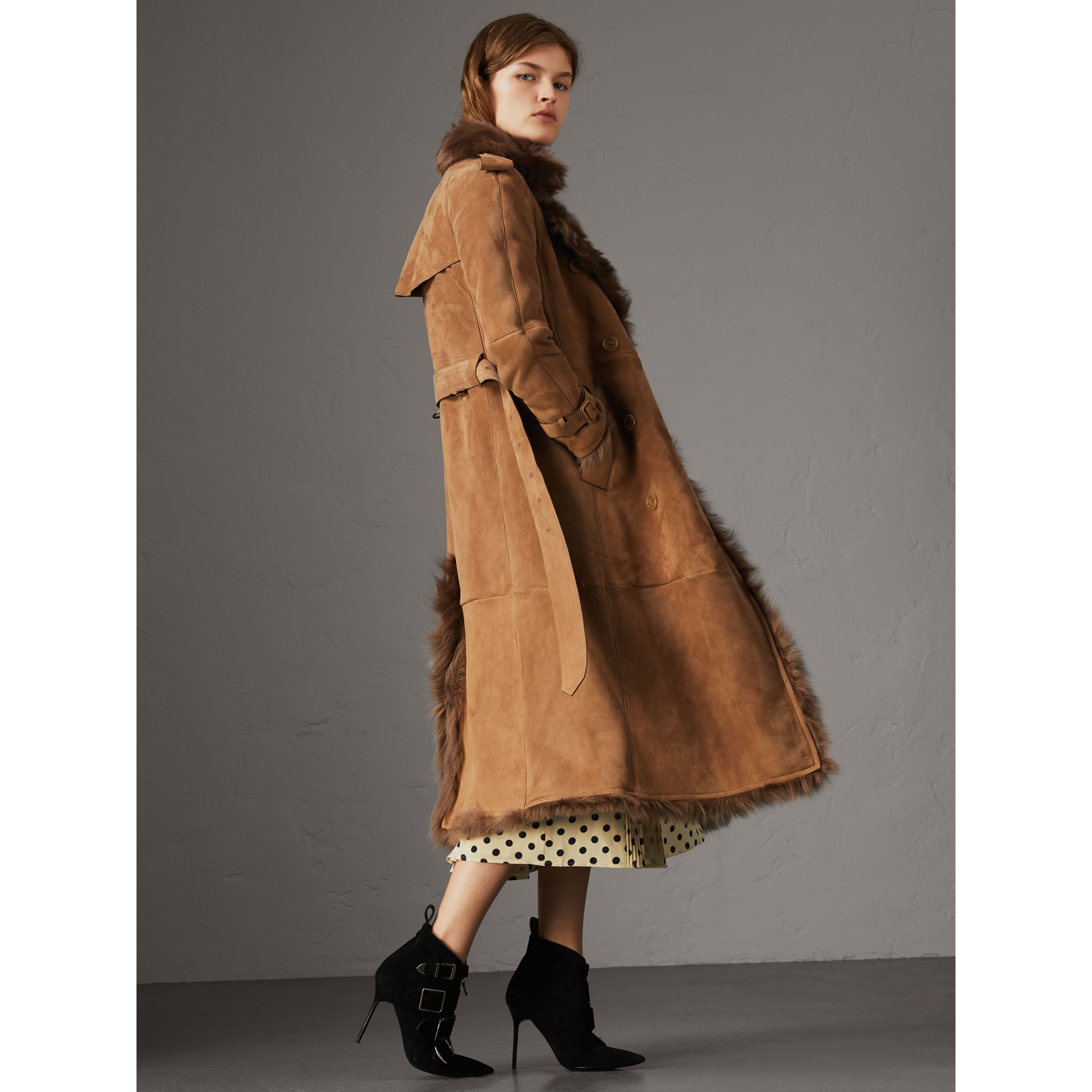 Shearling Trench Coat in Dark Camel - Women | Burberry - gallery image 6