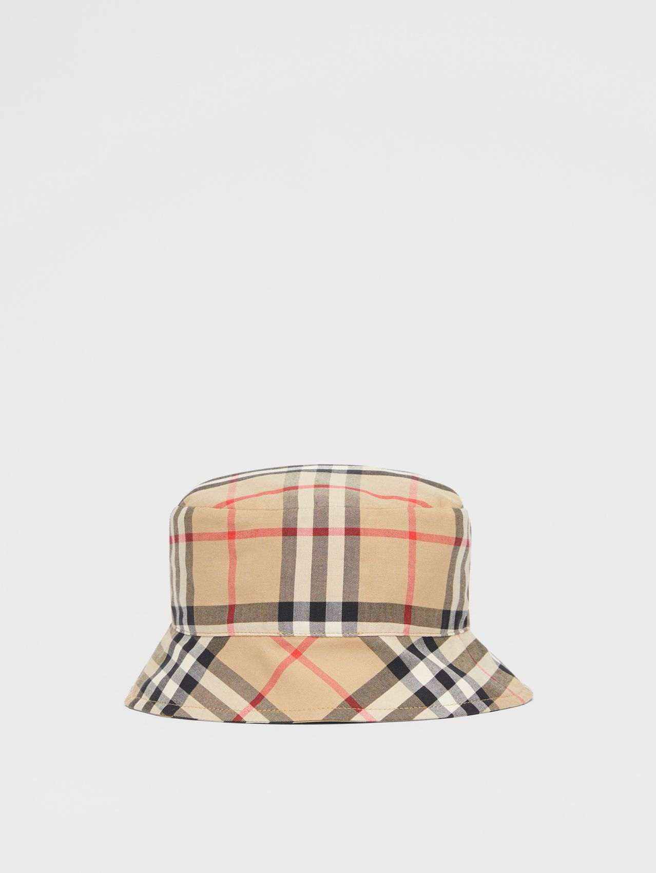 Reversible Vintage Check and Icon Stripe Bucket Hat (Archive Beige)