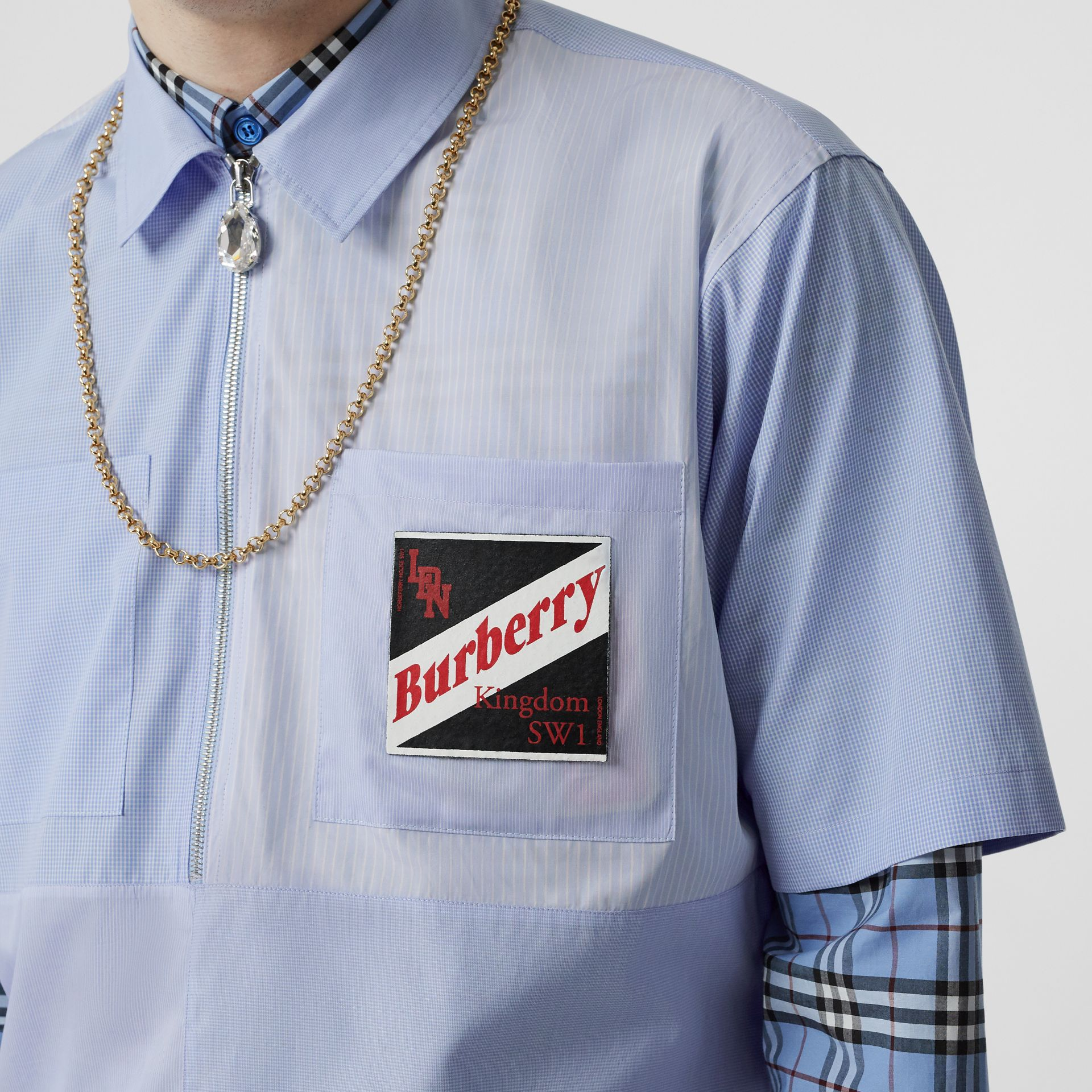 Short-sleeve Logo Graphic Patchwork Cotton Shirt in Pale Blue - Men | Burberry - gallery image 1