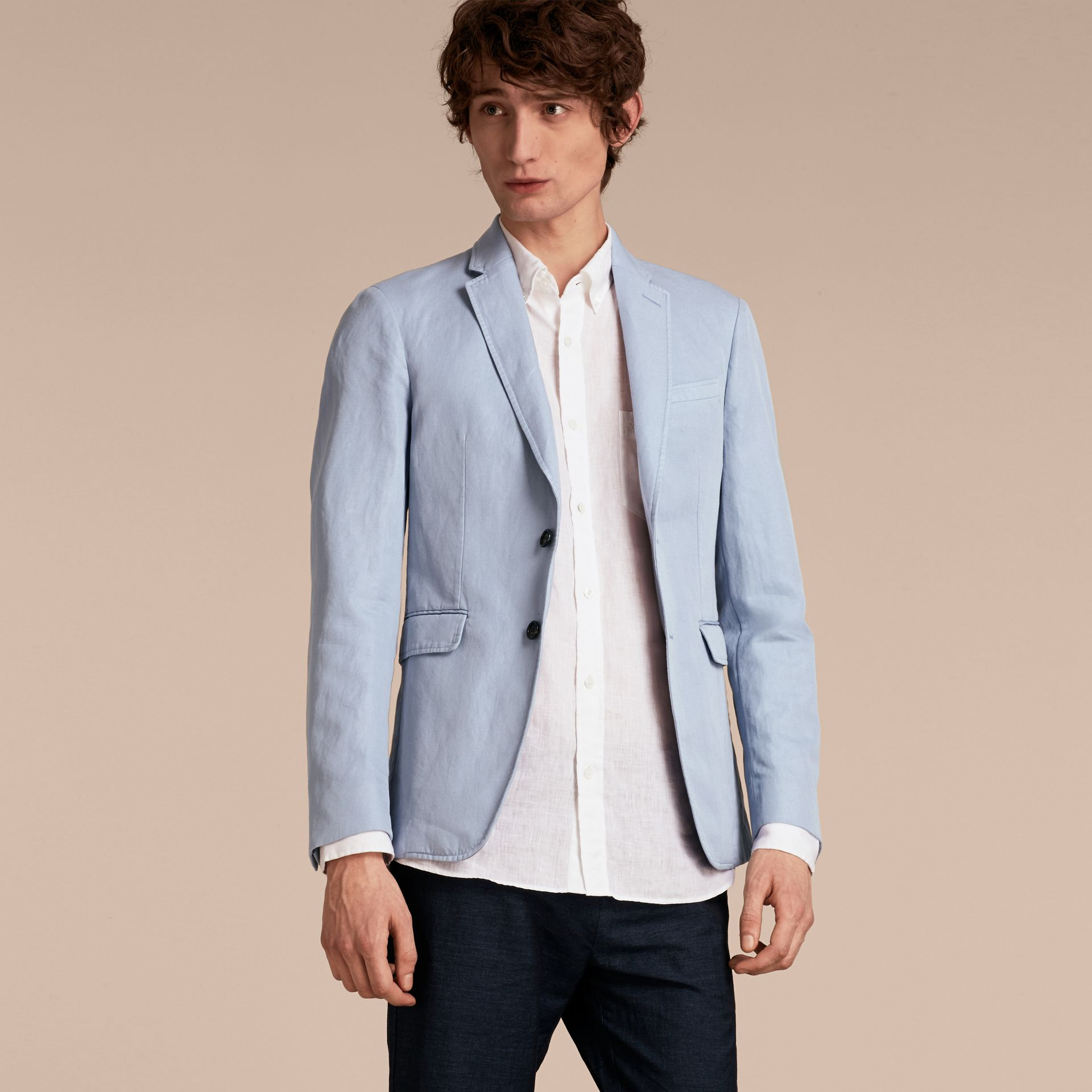 Slim Fit Cotton Linen Jacket in Pale Blue - Men | Burberry - gallery image 6