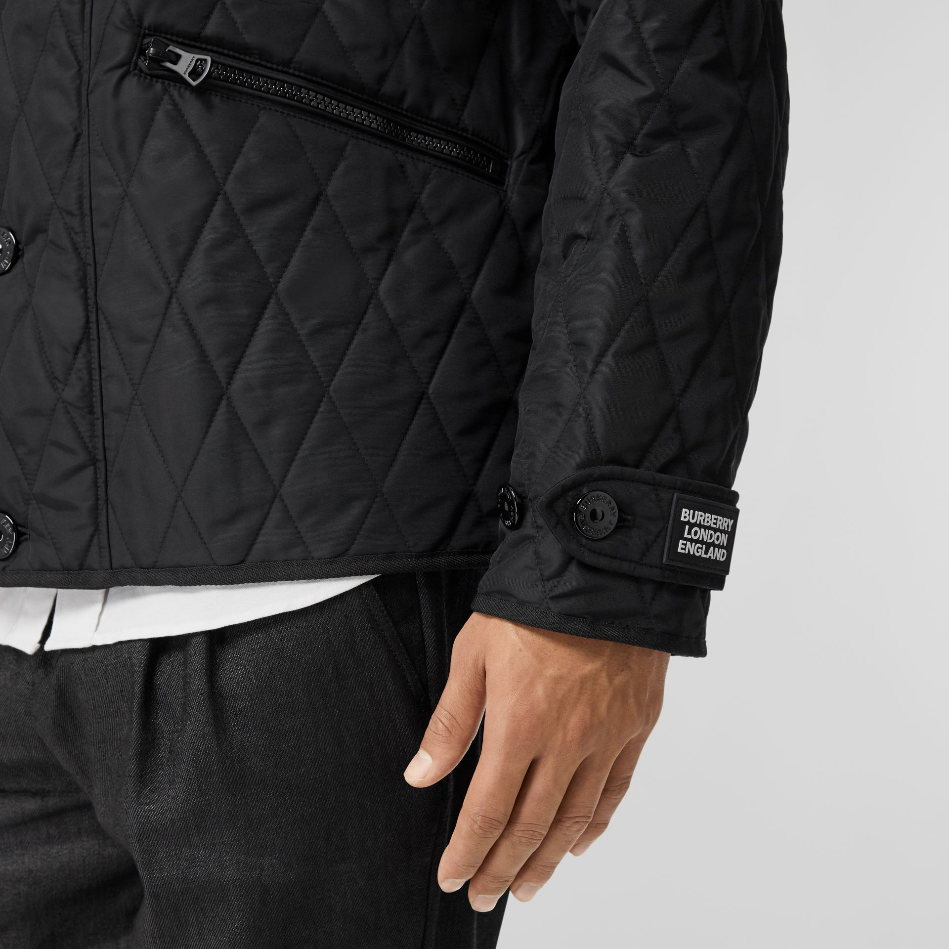 Diamond Quilted Jacket with Warmer in Black - Men | Burberry United Kingdom - gallery image 3
