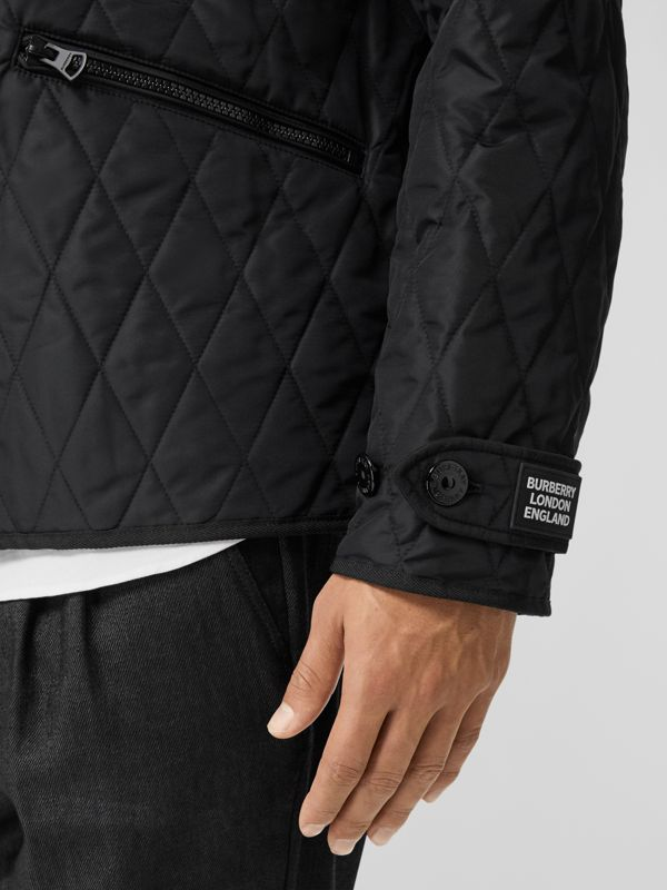 Diamond Quilted Jacket with Warmer in Black - Men | Burberry United Kingdom - cell image 3