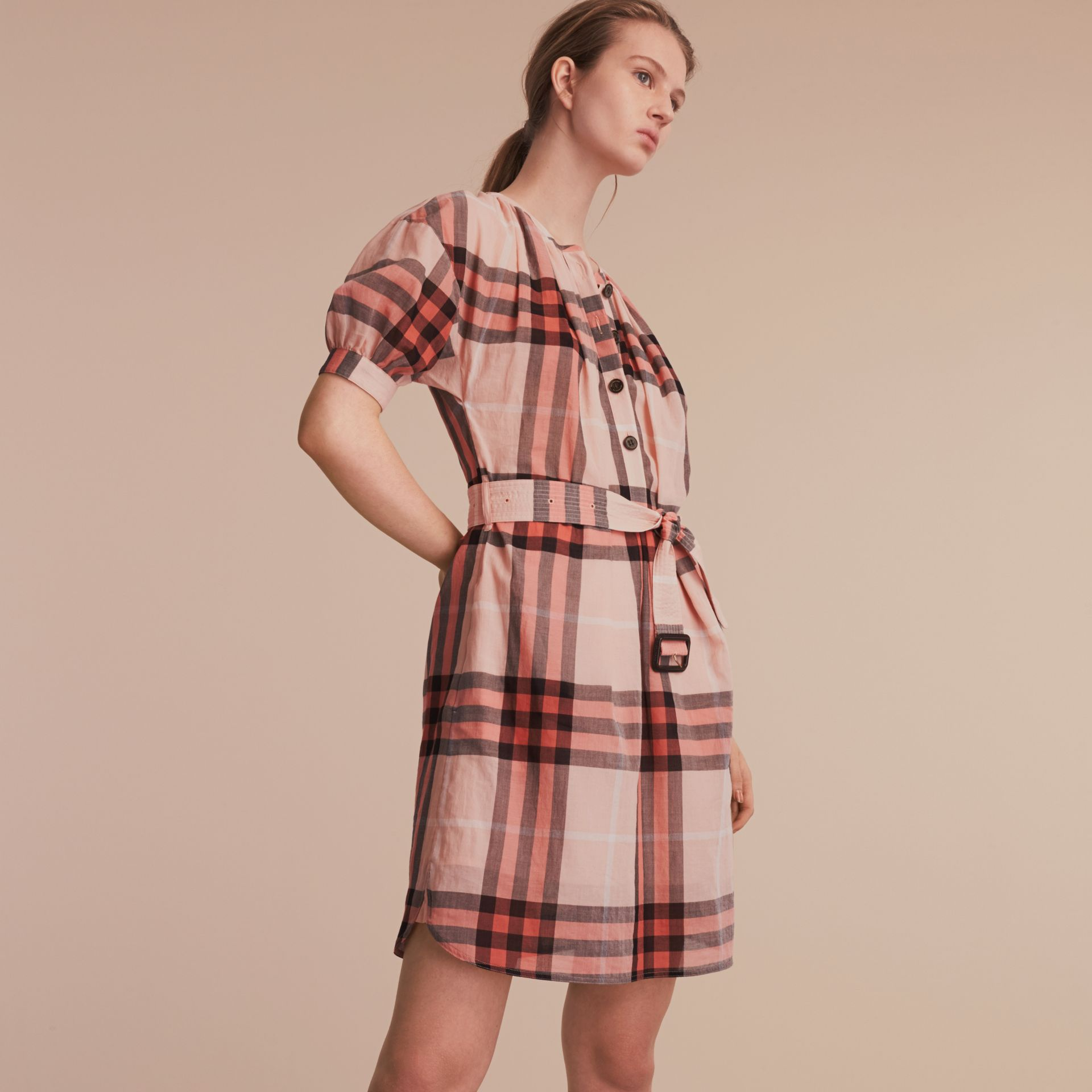 Short-sleeved Collarless Check Cotton Dress in Apricot - Women | Burberry - gallery image 6