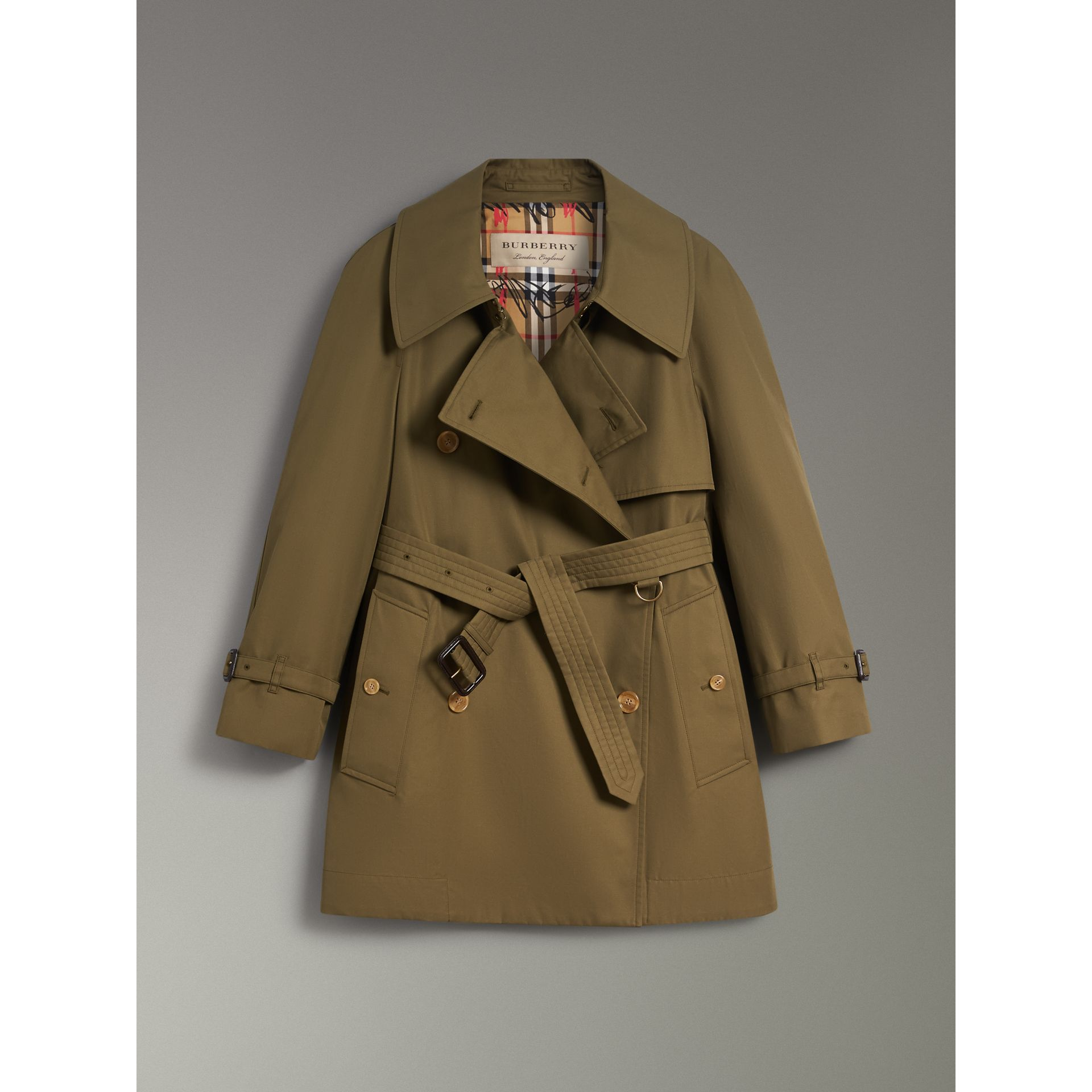 Exaggerated Collar Cotton Gabardine Trench Coat in Military Olive - Women | Burberry - gallery image 3