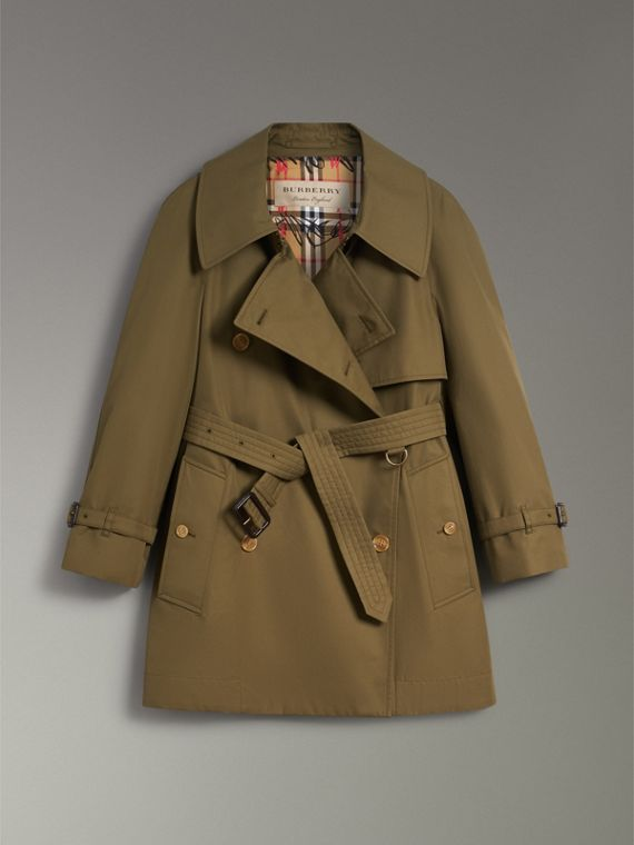 Exaggerated Collar Cotton Gabardine Trench Coat in Military Olive - Women | Burberry - cell image 3