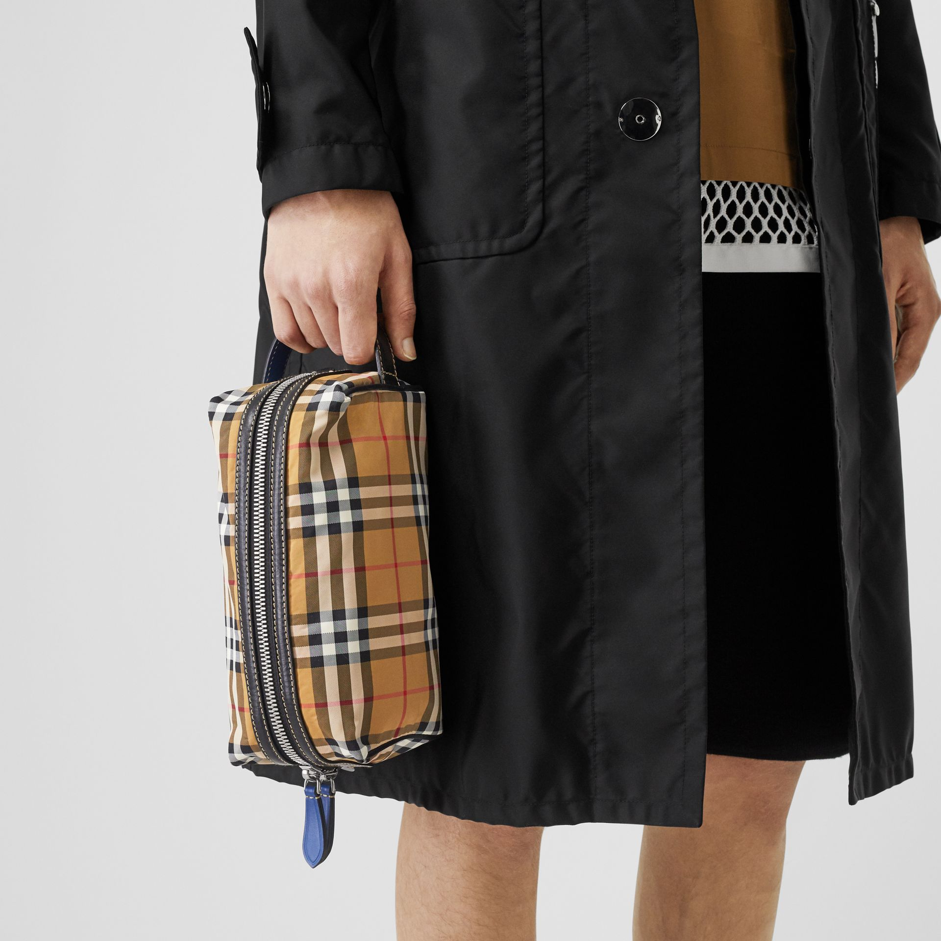 Vintage Check and Leather Pouch in Antique Yellow - Men | Burberry - gallery image 2