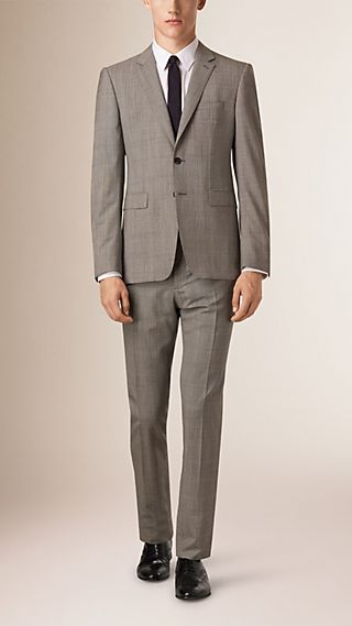 Slim Fit Prince of Wales Wool Part-canvas Suit