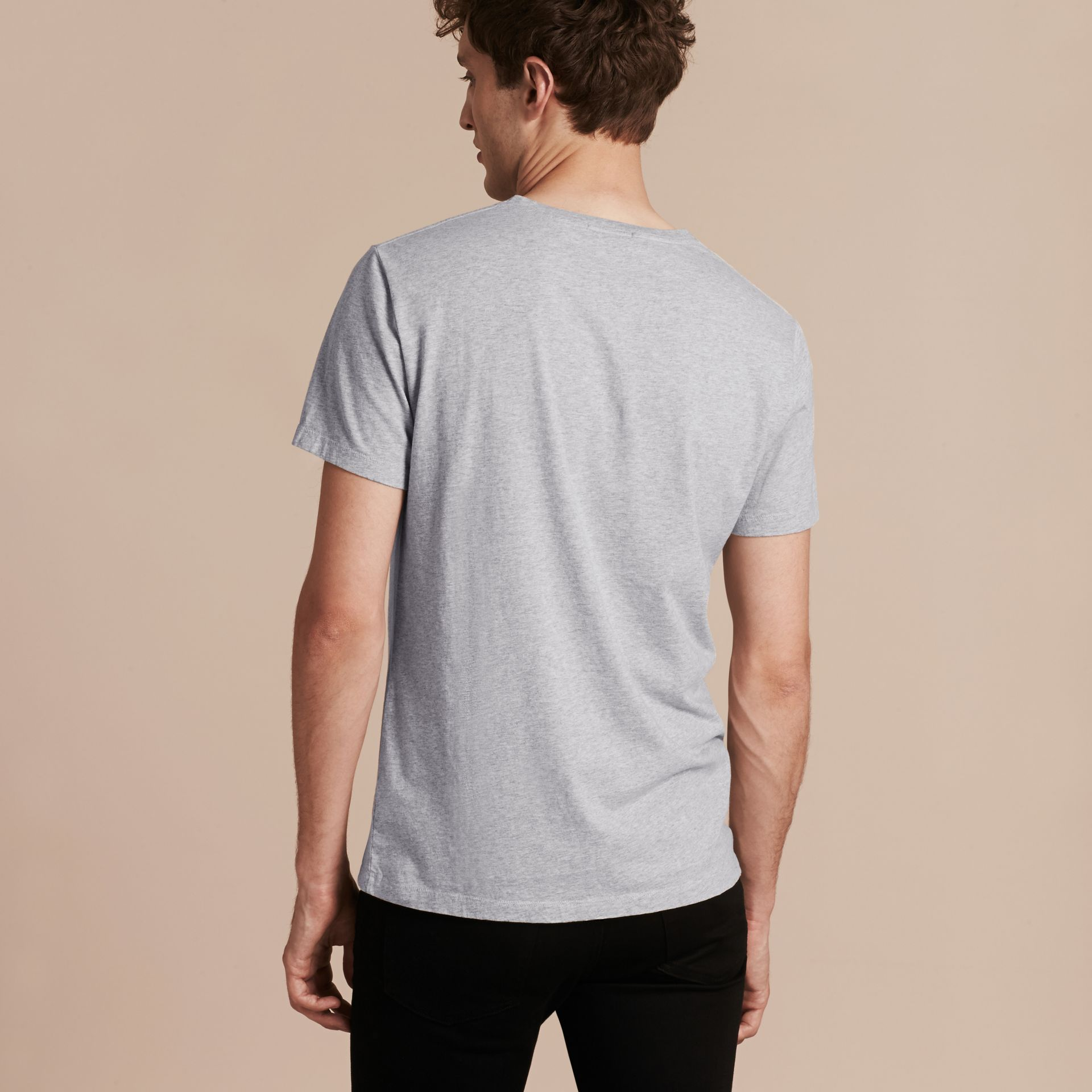 Pale grey melange Brushstroke Check Print Cotton T-Shirt Pale Grey Melange - gallery image 3