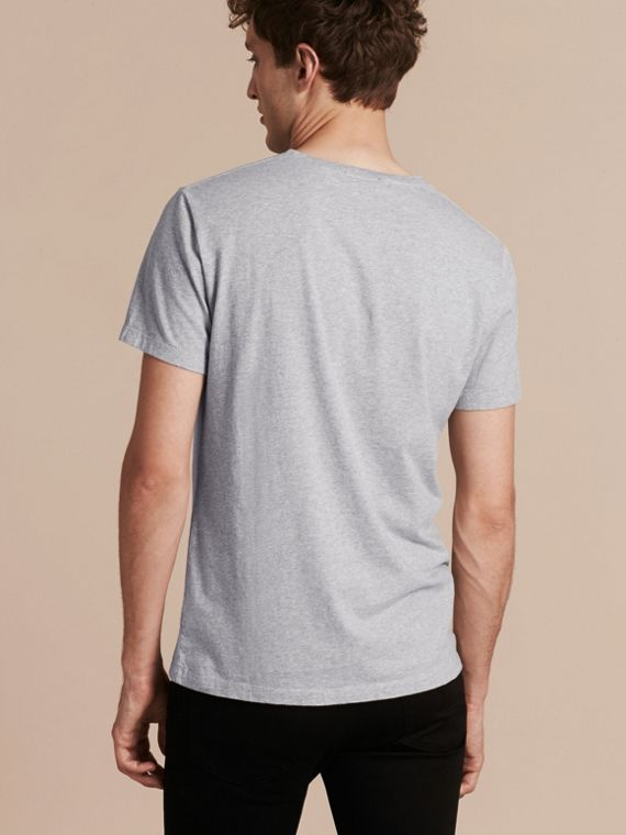 Pale grey melange Brushstroke Check Print Cotton T-Shirt Pale Grey Melange - cell image 2