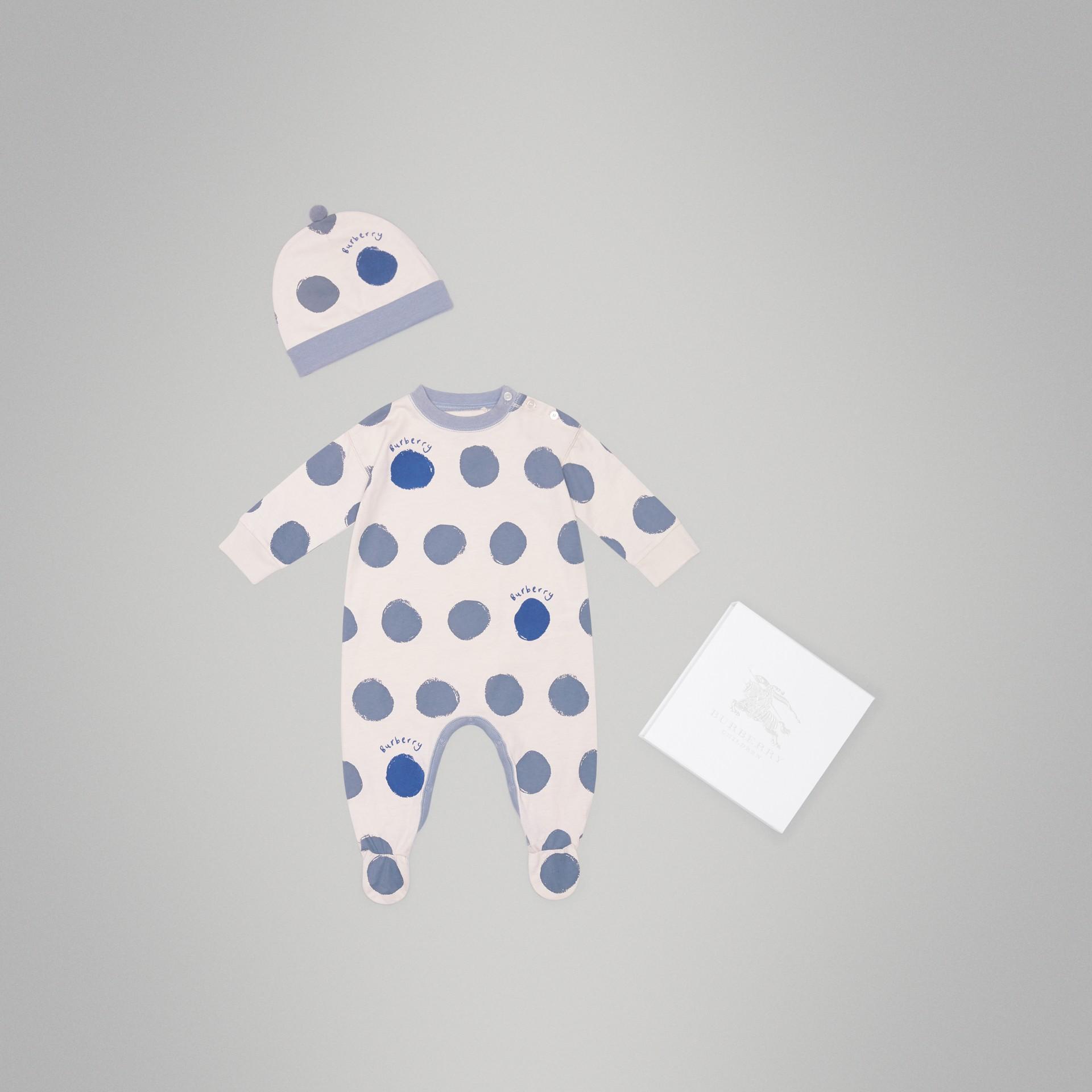 Coffret cadeau deux pièces pour bébé en jersey de coton à imprimé à pois graphique (Bleu Toile) - Enfant | Burberry Canada - photo de la galerie 0