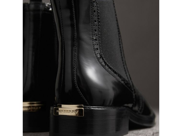 Leather Wingtip Chelsea Boots in Black - Women | Burberry - cell image 1