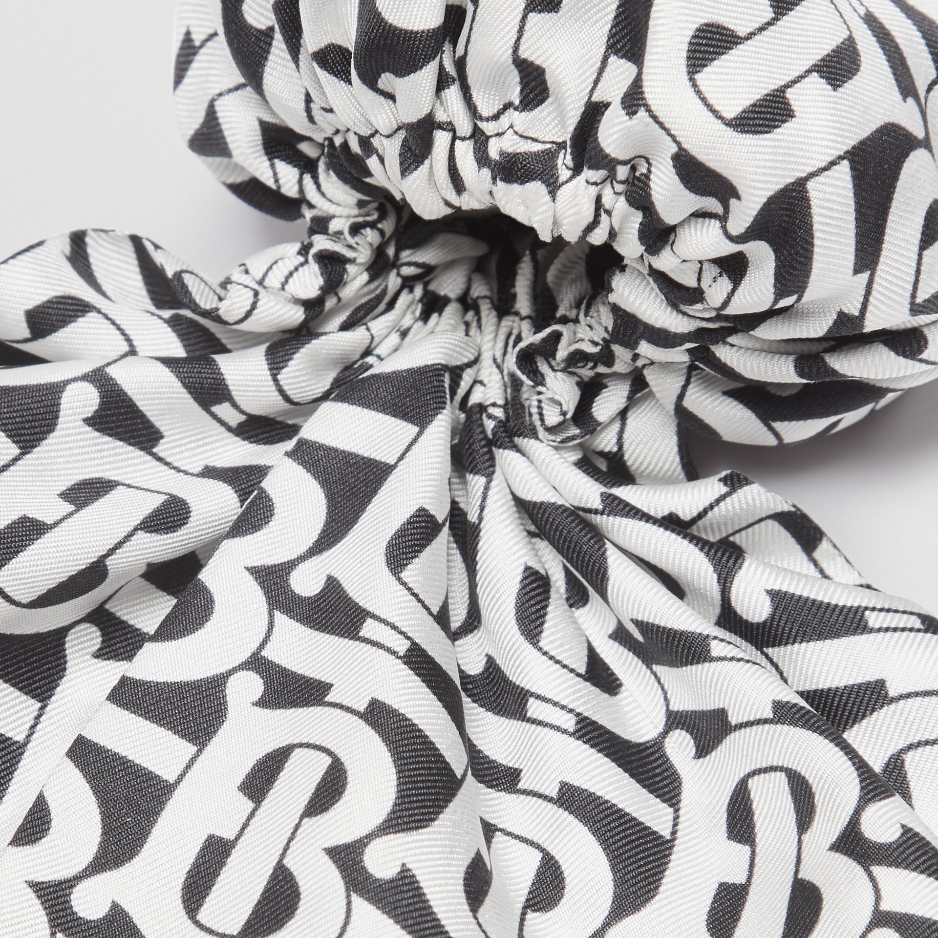 Monogram Print Silk Hair Scarf in Monochrome - Women | Burberry - gallery image 1