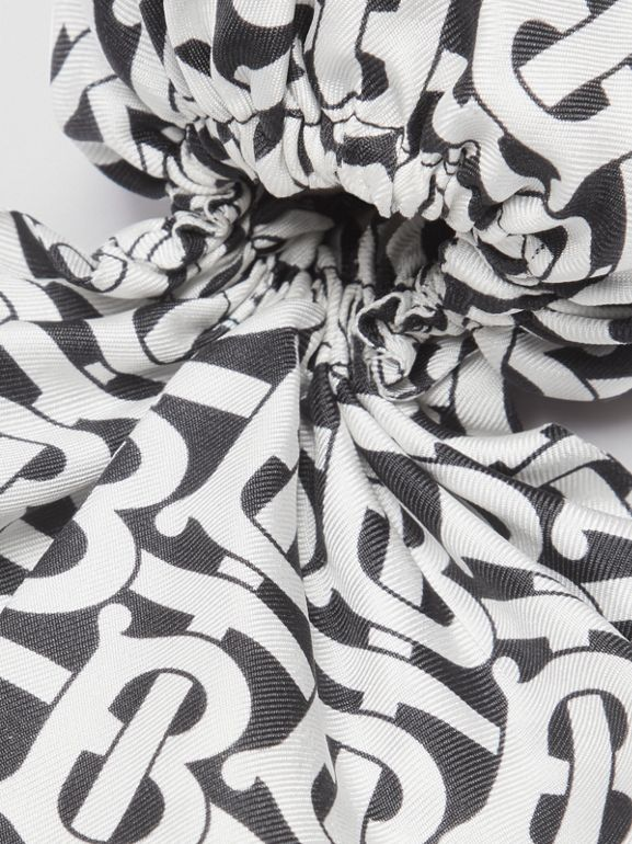 Monogram Print Silk Hair Scarf in Monochrome - Women | Burberry - cell image 1