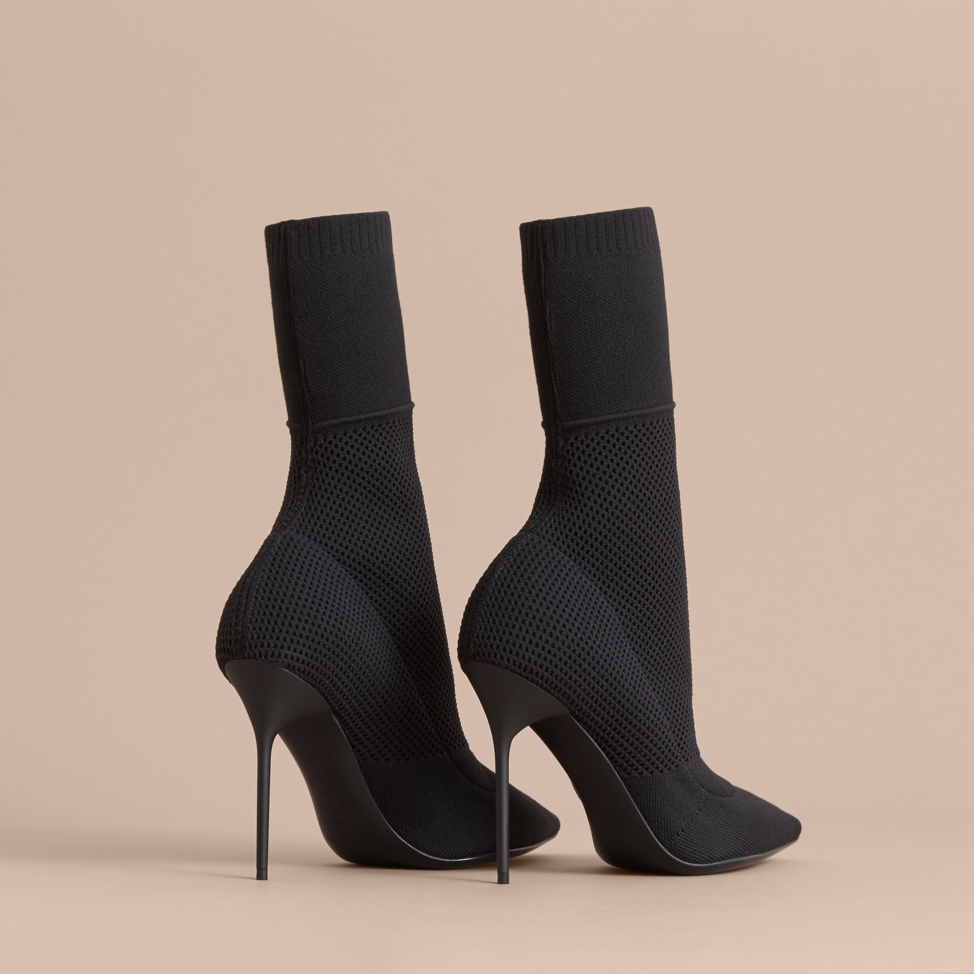 Mid-calf Knitted Mesh Boots in Black - Women | Burberry - gallery image 4