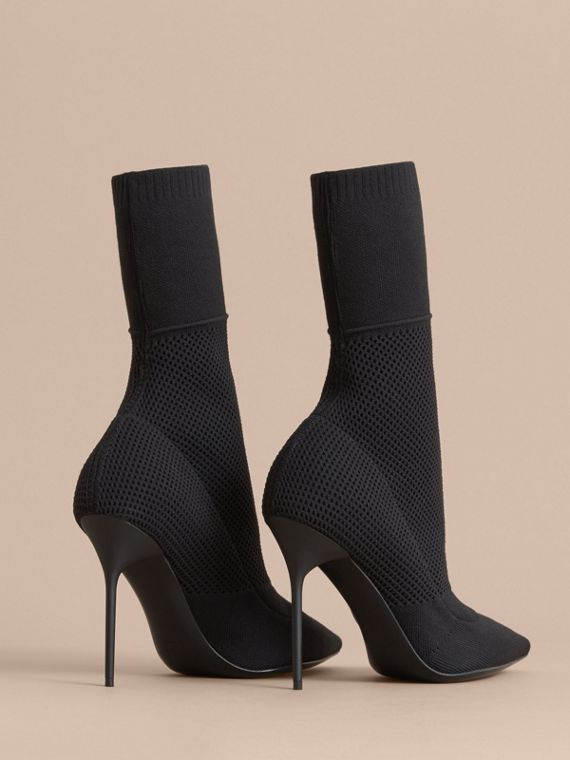 Mid-calf Knitted Mesh Boots in Black - Women | Burberry - cell image 3