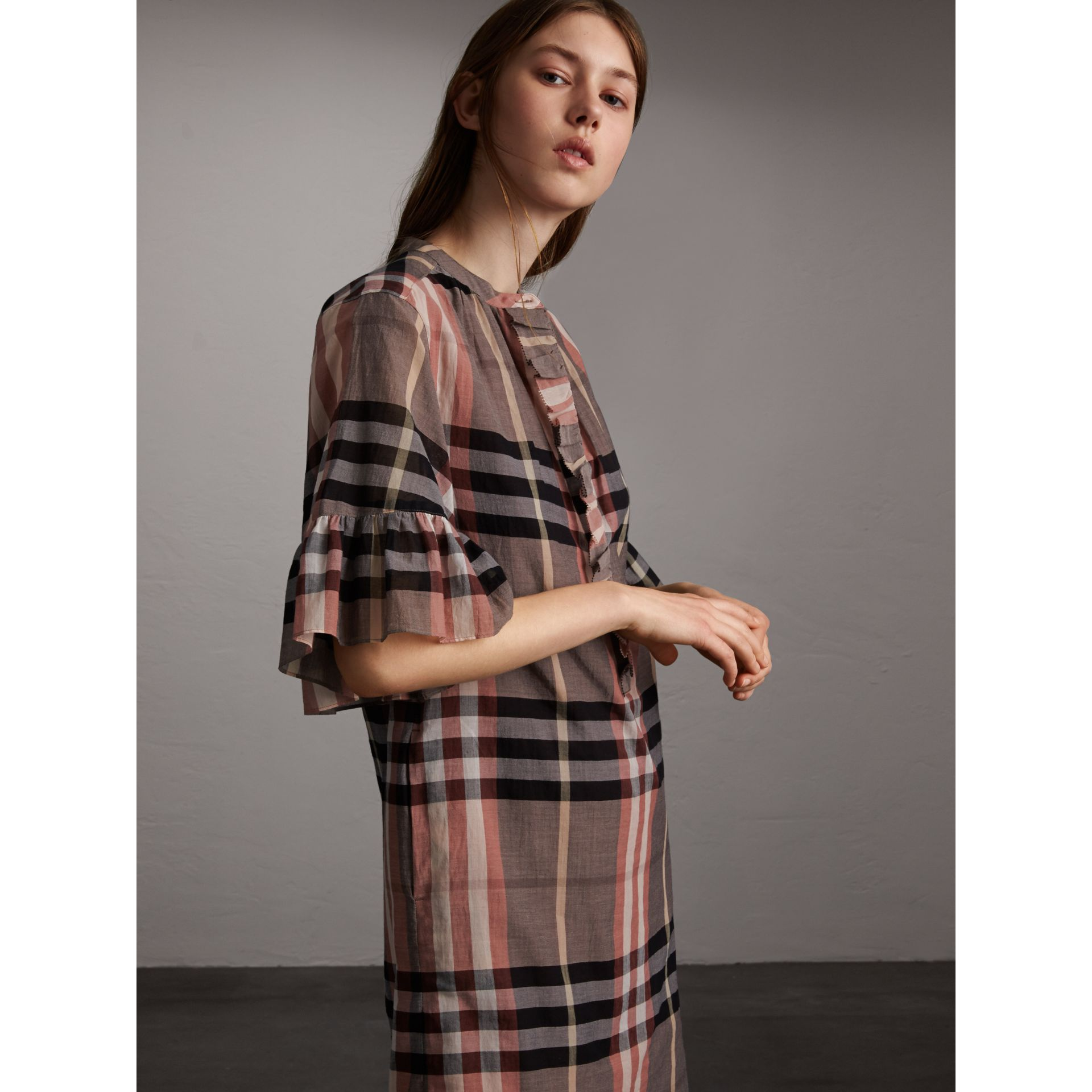 Ruffled Placket Check Cotton Dress - Women | Burberry - gallery image 4