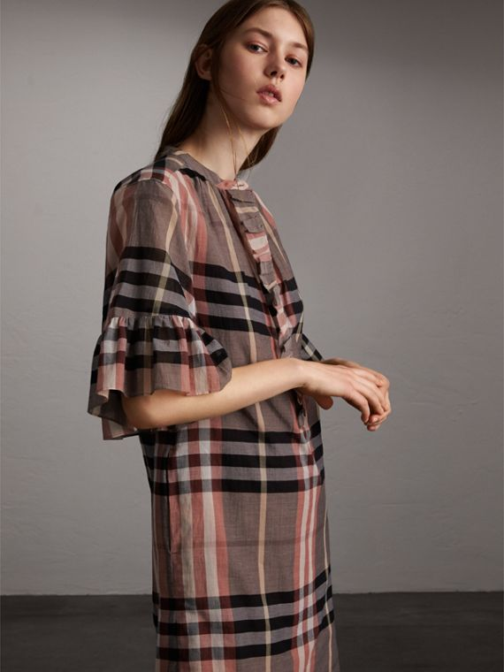 Ruffled Placket Check Cotton Dress in Dusty Pink - Women | Burberry - cell image 3