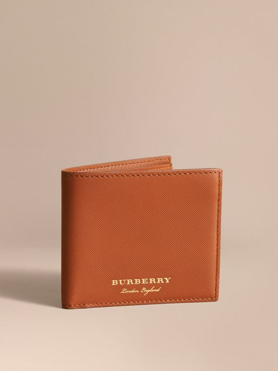 Trench Leather International Bifold Wallet in Tan - Men | Burberry Singapore