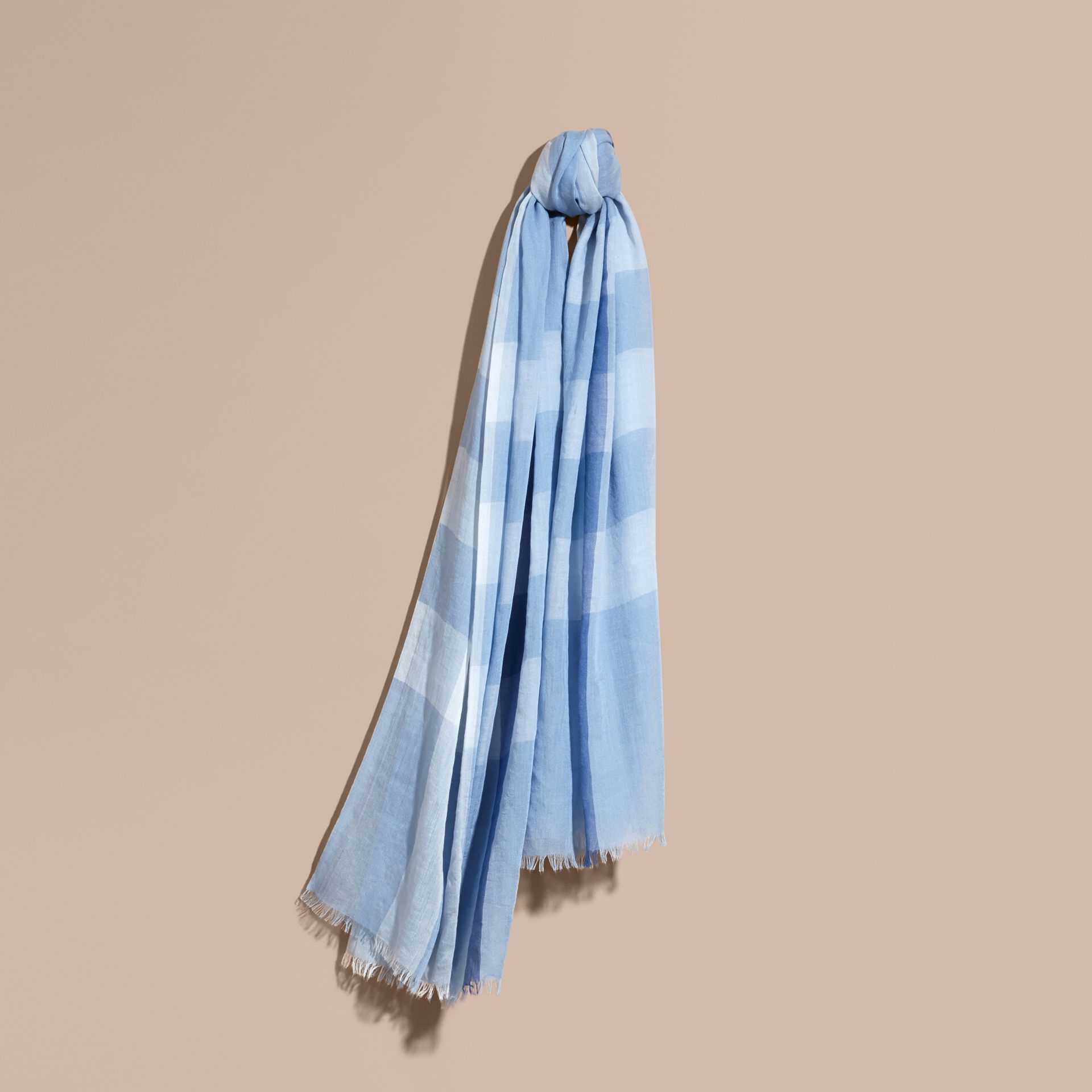 Check Modal Cashmere and Silk Scarf in Pale Blue - gallery image 1