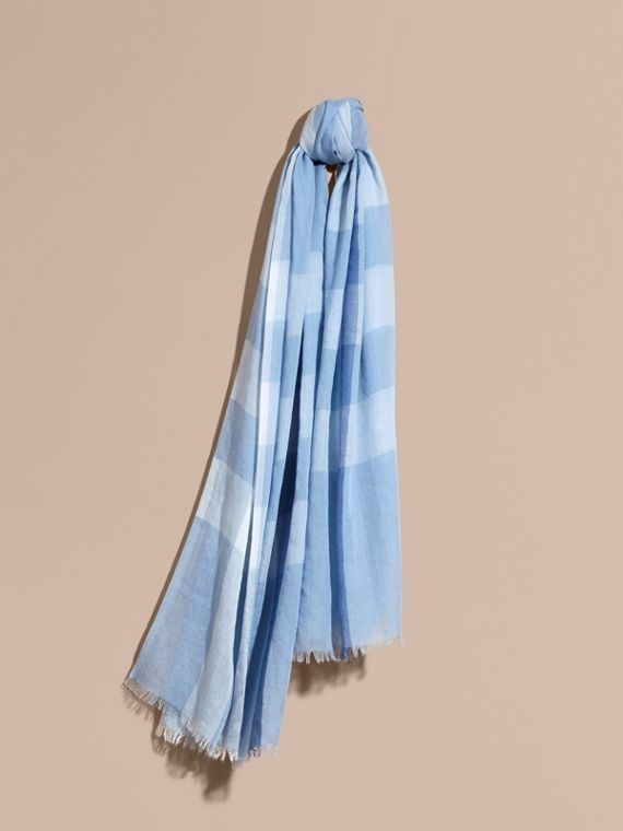 Check Modal Cashmere and Silk Scarf in Pale Blue