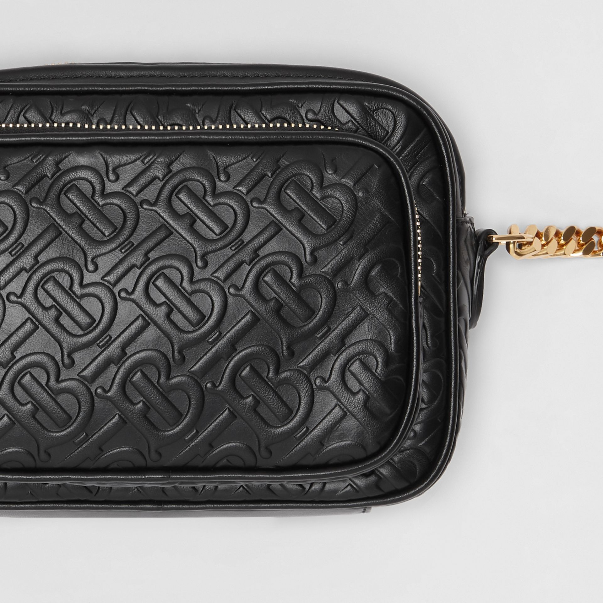 Monogram Leather Camera Bag in Black - Women | Burberry - gallery image 1