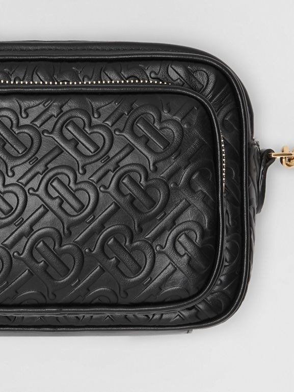 Monogram Leather Camera Bag in Black - Women | Burberry United States - cell image 1