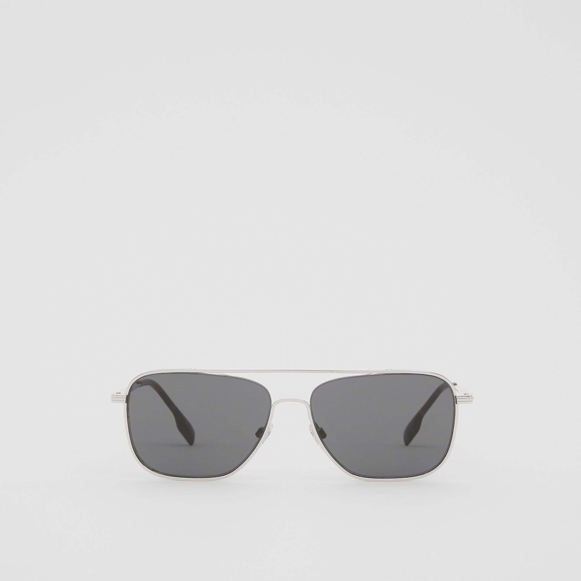 Top Bar Detail Square Frame Sunglasses in Gunmetal Grey | Burberry - gallery image 0