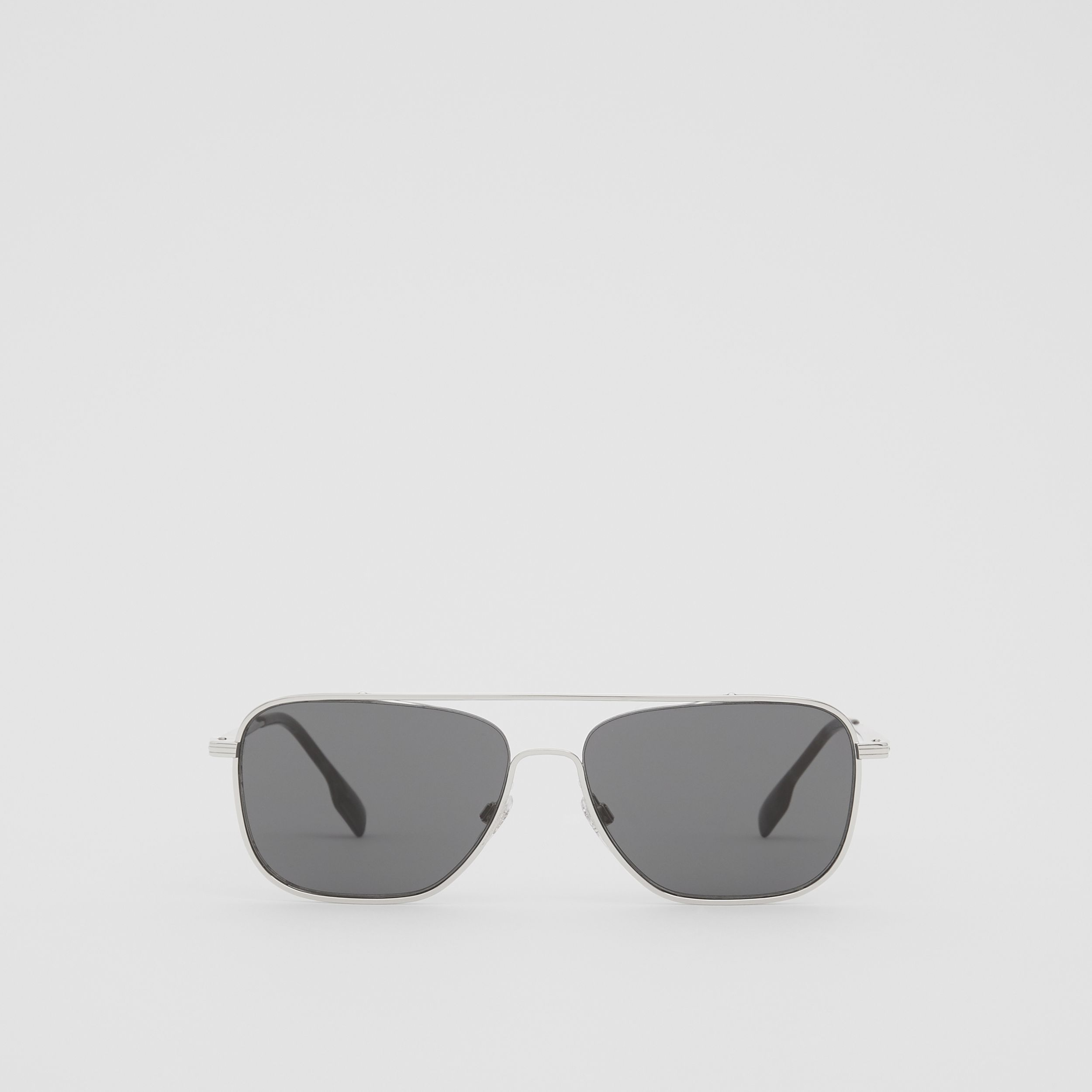 Top Bar Detail Square Frame Sunglasses in Gunmetal Grey - Men | Burberry - 1