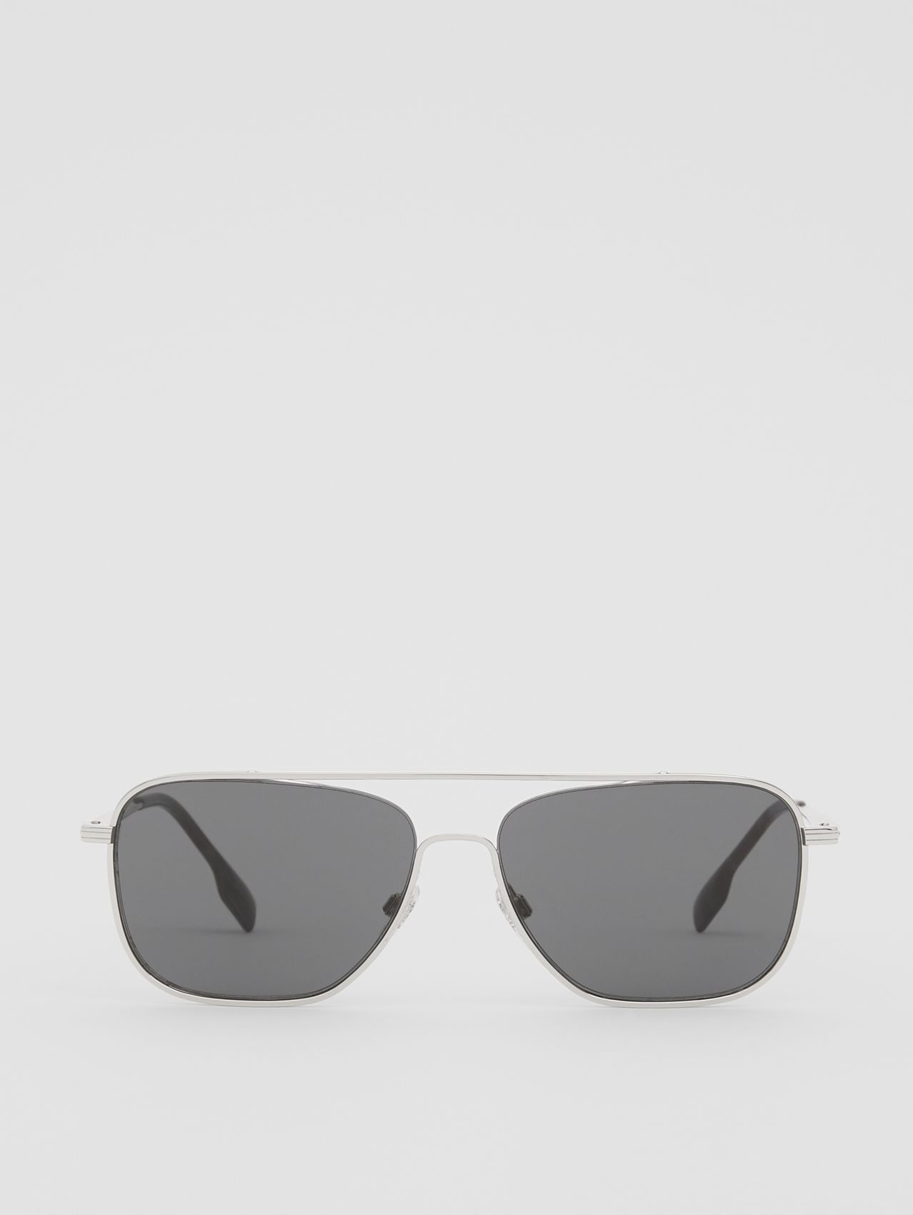 Top Bar Detail Square Frame Sunglasses in Gunmetal Grey