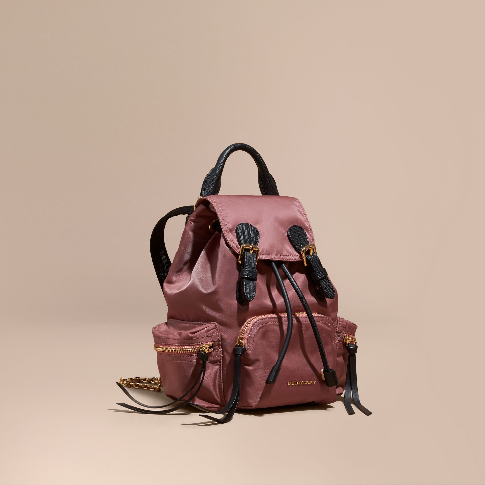 Mauve pink The Small Rucksack in Technical Nylon and Leather Mauve Pink - gallery image 1