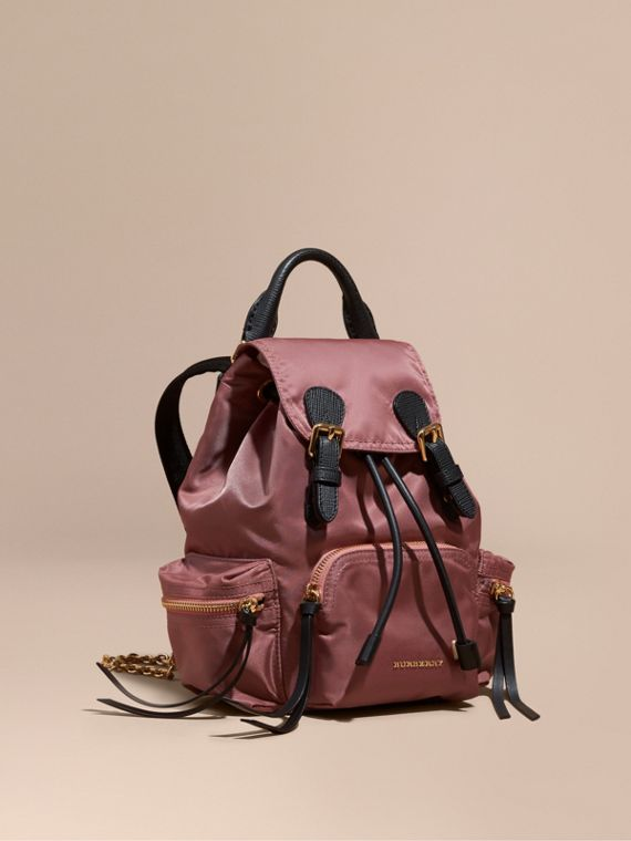 The Small Rucksack in Technical Nylon and Leather Mauve Pink
