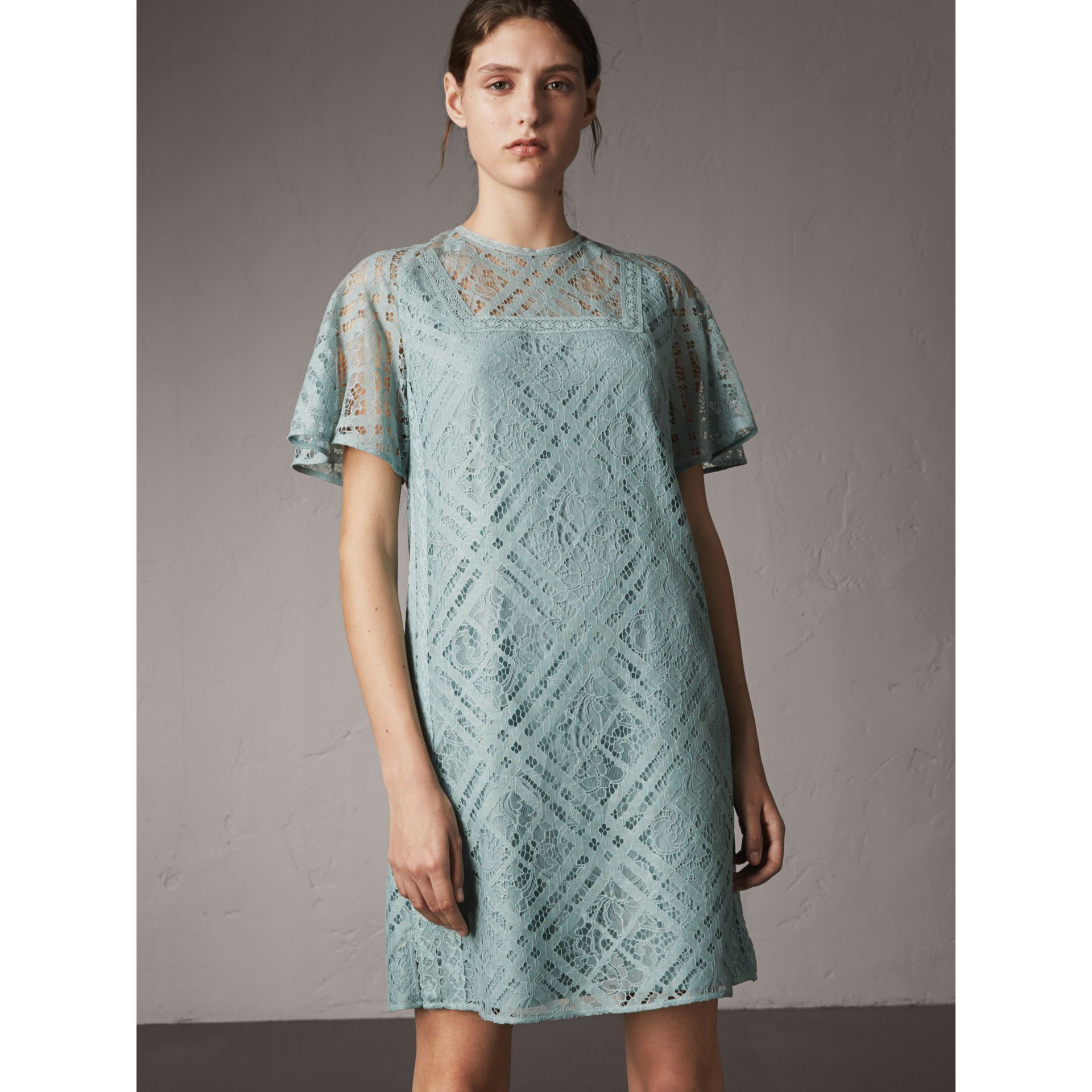 Flare-sleeve Check Lace Shift Dress in Pale Slate Blue - Women | Burberry Canada - gallery image 5